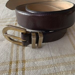 ALBOTS 6020 Leather Belt, DARK BROWN